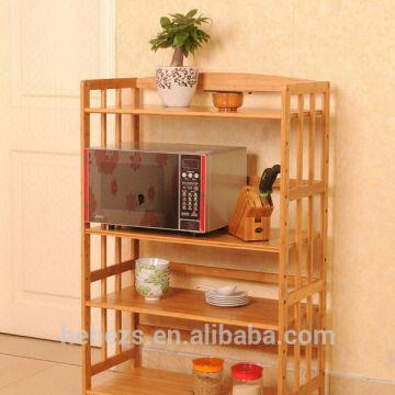 China Smart Bamboo Kitchen Microwave Oven Stand For Storage Rack
