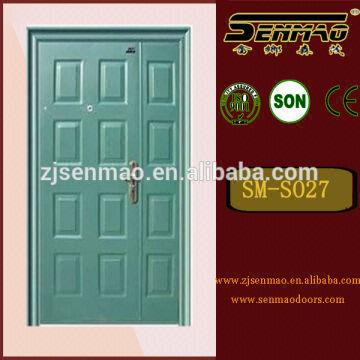 China Blue Color Mother And Son Iron Steel Security Door/low Price Interior  Steel Wood