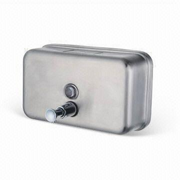 china touch soap dispenser with pump nozzle and lock device made of stainless steel