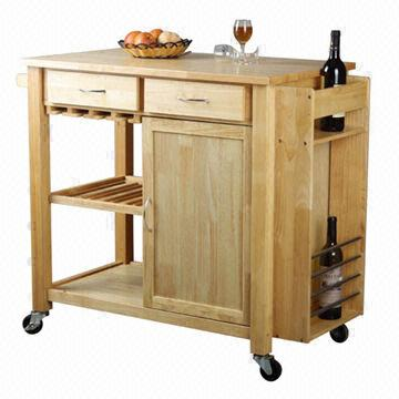 Kitchen Cart with Drawer, Towel Hanger, Cabinet, Shelves and Wine ...