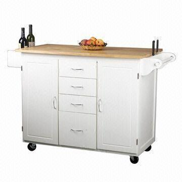 White kitchen trolley with towel hangers cabinets and drawers global sources - Kitchen cabinets trolleys pictures ...