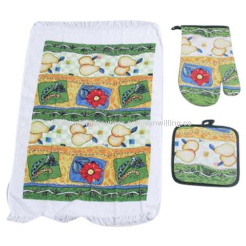 China Wholesale Printed Cotton Fabric 3pcs Kitchen Towel
