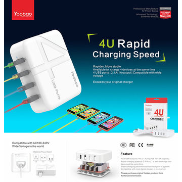 China USB Charger Plug 4-Port Desktop Charger with UK EU US Travel Adaptor