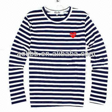 a7cac5c636ee ... China Red Heart Embroidered White and Black Stripes Long Sleeve Navy  Tee Shirt