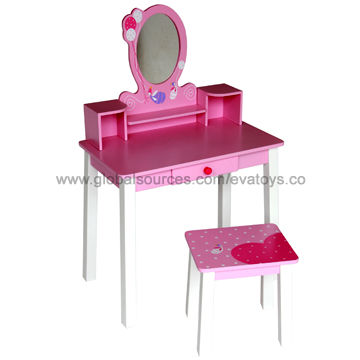 China Popular Wooden Girlu0027s Dresser With Mirror, Includes Table And Chair