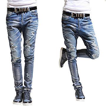 Art damage men's destroyed slim baggy blue jeans, Xintang jeans