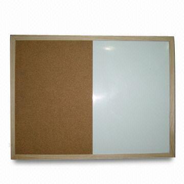Wood Framed Combo Magnetic Whiteboard/Corkboard, Kraft Paper ...