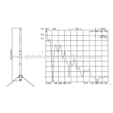2.6m two section dual band diamond base station antenna 144-145MHz, 430-440MHz 6/8dBi