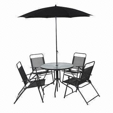 Patio Set With 4 Chairs 1 Table 5mm Tempered Gl Parasol Steel Frame Without Crank Tilt