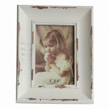 Wood distressed white photo frame, antique 4x6-inch picture frame ...