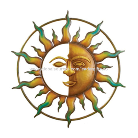 China Hot Selling Decorative Sun Face Metal Wall Art For Indoor And Outdoor Decoration Oem Are Welcomed On Global Sources