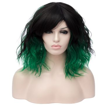 China Aicos Black Green Ombre 35cm Short Curly Bob