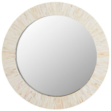 Pearl Bamboo Wall Mirror Made, Natural Carved Wood Round Mirror