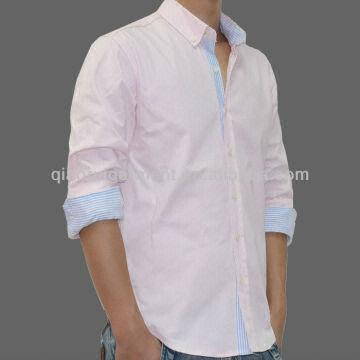 Oem Men's Long Sleeve Stripe Piping Satin Casual Shirt Button Down ...