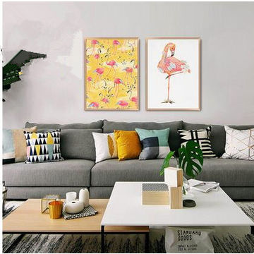 china gris flamingo large framed wall art hand crayon from hangzhou