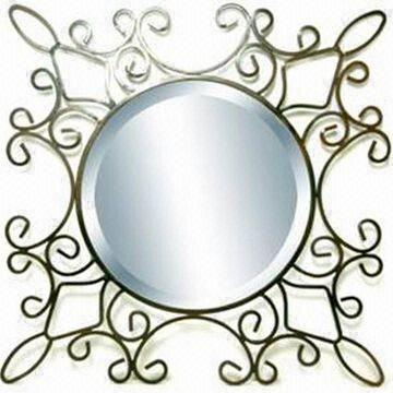 mirror with metal frame measures 610 x 610 x 12mm