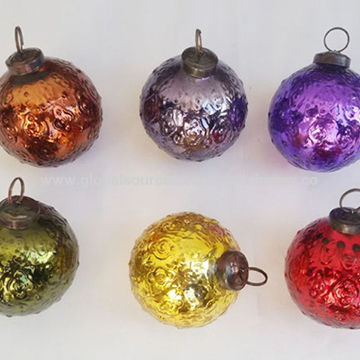 India VIXM14020 Mercury Glass Embossed Ball 2019 Christmas Tree Ornaments