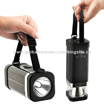 China Rechargeable multifunction LED flashlight, high-quality 5W Cree LED, can charge by solar panel