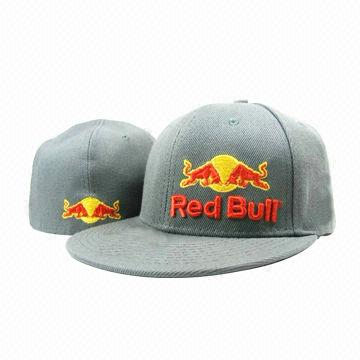 06cb3810 Men's Baseball Cap, Grey Color Wool with Acrylic, Red Bull Embroidery and  Wide Flat Brim for Sports
