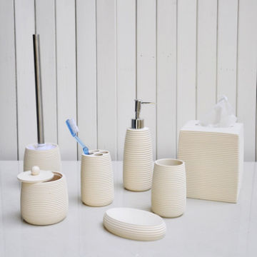 Bathroom accessories with polyresin ceramics glass bamboo with soap  dispenser tumbler soap dish. Bathroom accessories with polyresin ceramics glass bamboo with
