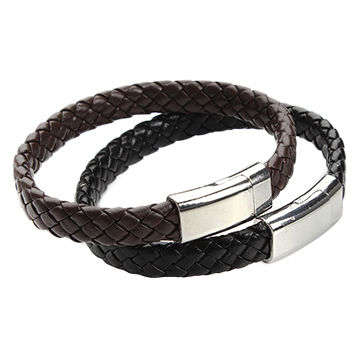 China Fashionable Leather Bracelet Customized Logo Engraved Anchor Jewelry For Men