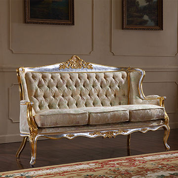American antique style fabric solid wooden sofa set design ...