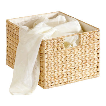 Water Hyacinth Basket, Water Hyacinth, Iron Frame, Natural Color, with  Lining