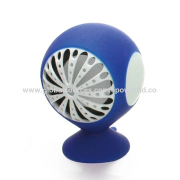 China Novelty fan shape mobile phone wired speaker, mini size with suction cup, mobile stand, promotional