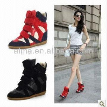 b318c59be09 ... China 2014ss Velcro Strap Ladies Wedge Heel Ankle Boots