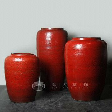 Big Chinese Red Tall Ceramic Floor Vase Home Decoration Global