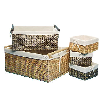 Water Hyacinth Baskets, Water Hyacinth, Iron Frame, Natural/Brown Color,  with