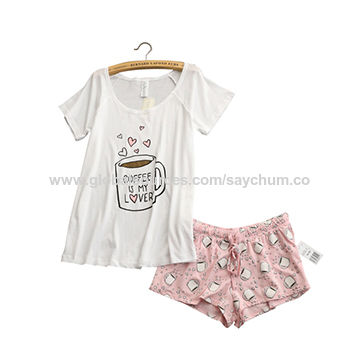 692a9169f307 China Cute pajamas sets with white and pink grey and green color coffee  cups printed ...