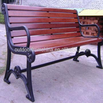 Cast Iron Solid Wood Patio Bench Outdoor Bench Weather Resistant
