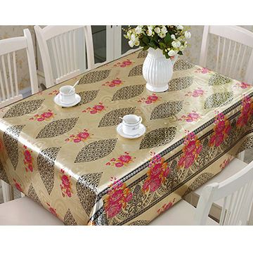 China 0.18mm Thickness Popular Gold/Silver Printed PVC Tablecloth Roll ...