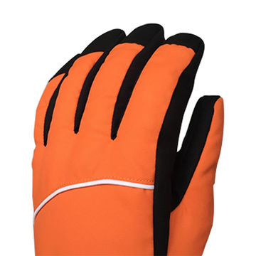 China Men's and woman's cool orange sport outdoor wholesale ski gloves