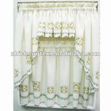 ... China Embroidered U0026 Sheer Kitchen Curtains,Floral Cream Ruffled Kitchen  Curtain