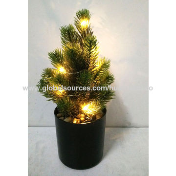 China Artificial Eucalyptus Ball Plants With Led Light White Ceramic Pot Decorative For Office