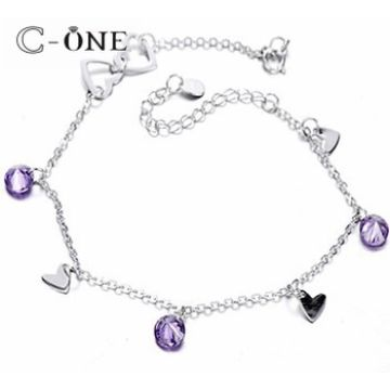 5abe969b3a52e7 China Fashion Silver Dongle Type Bracelets, Heart & CZ Drop Adjustable  Trendy Ladies Silver Bracelets