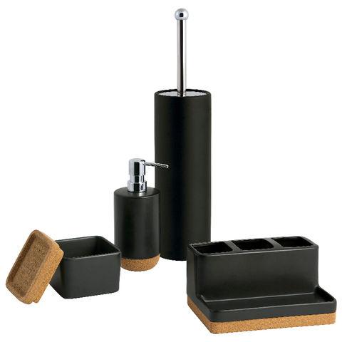 Cork Bathroom Accessory Set Soap Dish, Black Bathroom Accessory Set