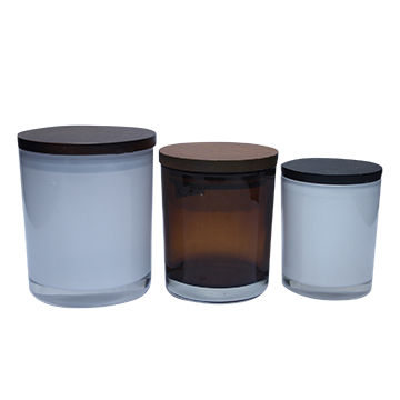 Buy Bamboo Lid Glass Jar with Wooden Lid Candle Cup Lids ...