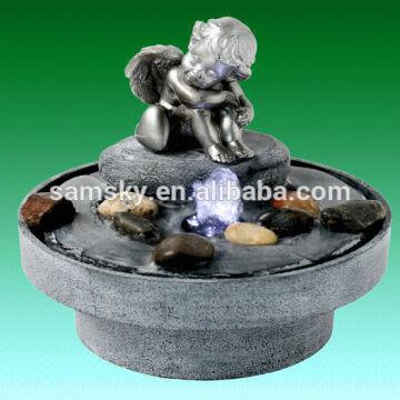 Packed:polyfoam China Small Table Angel Indoor Water Fountain Lamp  1.Factory Price,good Quality 2
