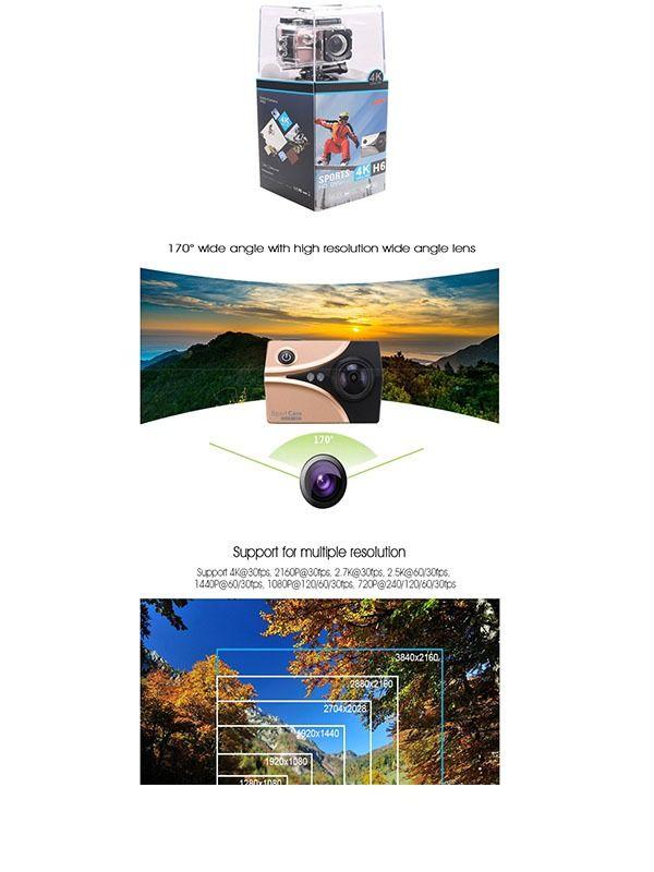 China New Arrival Ambarella 4K FHD WiFi action camera XDV 16MP mini