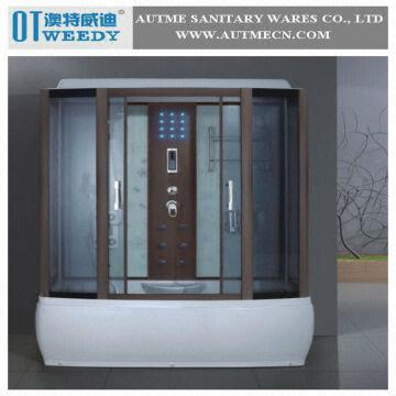 Steam Shower Room Bathtub Shower Enclosure Bathroom Door with Wood ...