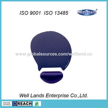 Taiwan Optical Mouse Pad with Gel Wrist Rest, Customized Logos are Welcome