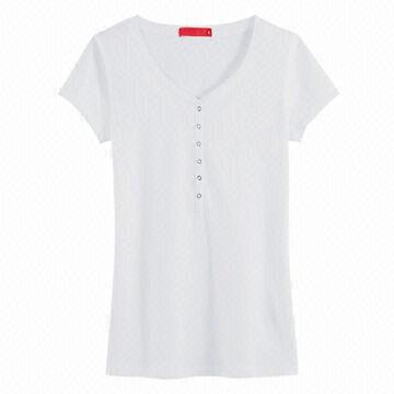 China Classic Plain White Women's T-shirt with Buttons Up, Short ...