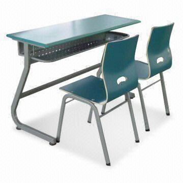 Double School Desk And Chair With Powder Coating Made Of Steel