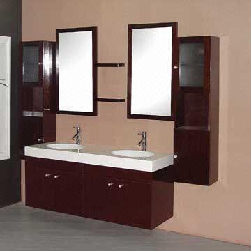 Solid wood bathroom vanity cabinet double sink design global sources for Unfinished wood bathroom cabinets