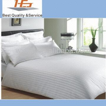 China 5 Star Hotel Satin Stripe Bed Linen Set Cotton Duvet Cover Set