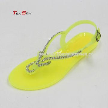 9bce0fad9cae ... China Beaded Swirl Thong Clear PVC Jelly Slingback Rhinestone Women s  Sandals ...