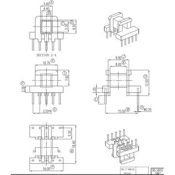 ee16 horiztional bakelite bobbin transformer bobbin 5 5pin global Transformers Logo china ee16 horiztional bakelite bobbin transformer bobbin 5 5pin
